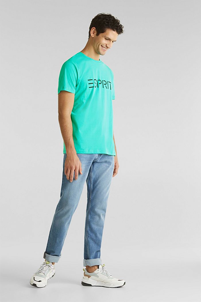 T-shirt in jersey con logo, 100% cotone, LIGHT TURQUOISE, detail image number 1