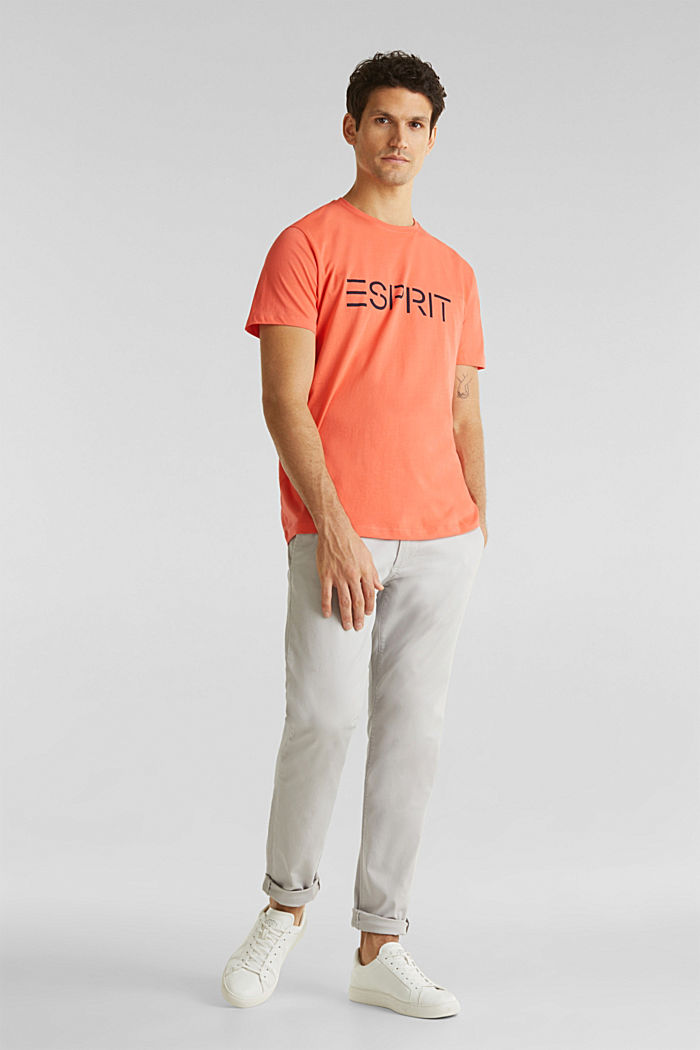 Jersey logo T-shirt, 100% cotton, CORAL, detail image number 1