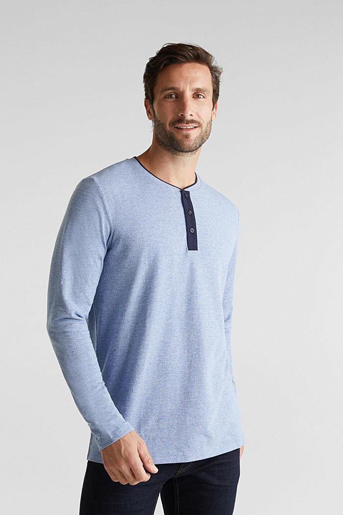 Tričko s dlouhým rukávem, z piké s bio bavlnou, BRIGHT BLUE, detail image number 0