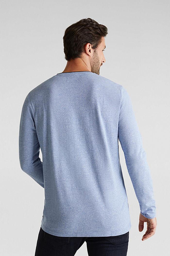 Tričko s dlouhým rukávem, z piké s bio bavlnou, BRIGHT BLUE, detail image number 3