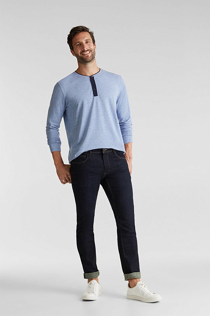 Tričko s dlouhým rukávem, z piké s bio bavlnou, BRIGHT BLUE, detail image number 2