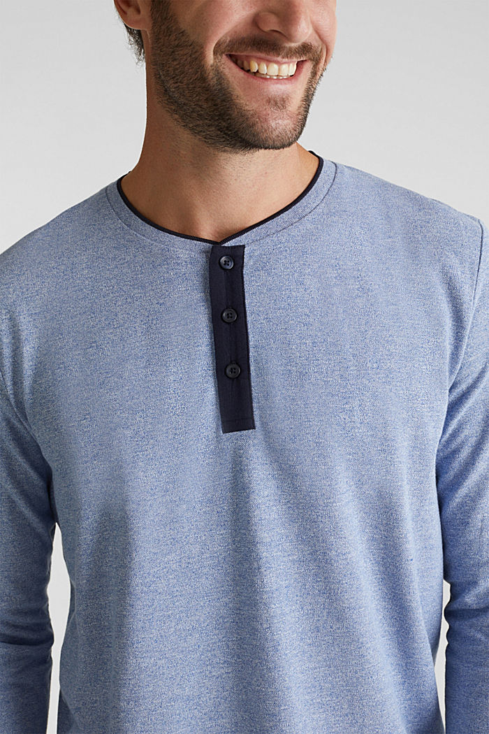 Tričko s dlouhým rukávem, z piké s bio bavlnou, BRIGHT BLUE, detail image number 1