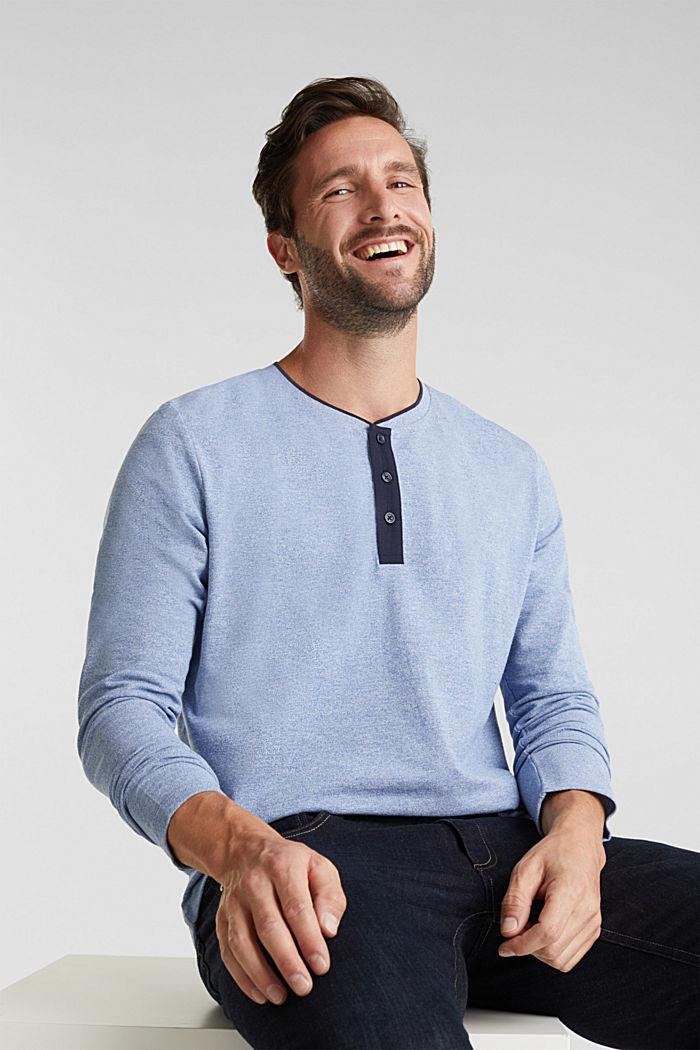 Tričko s dlouhým rukávem, z piké s bio bavlnou, BRIGHT BLUE, detail image number 5