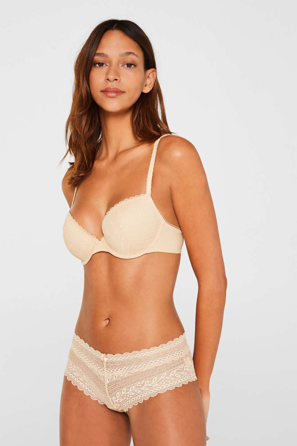 Padded underwire bra in crocheted lace, SKIN BEIGE, detail image number 0