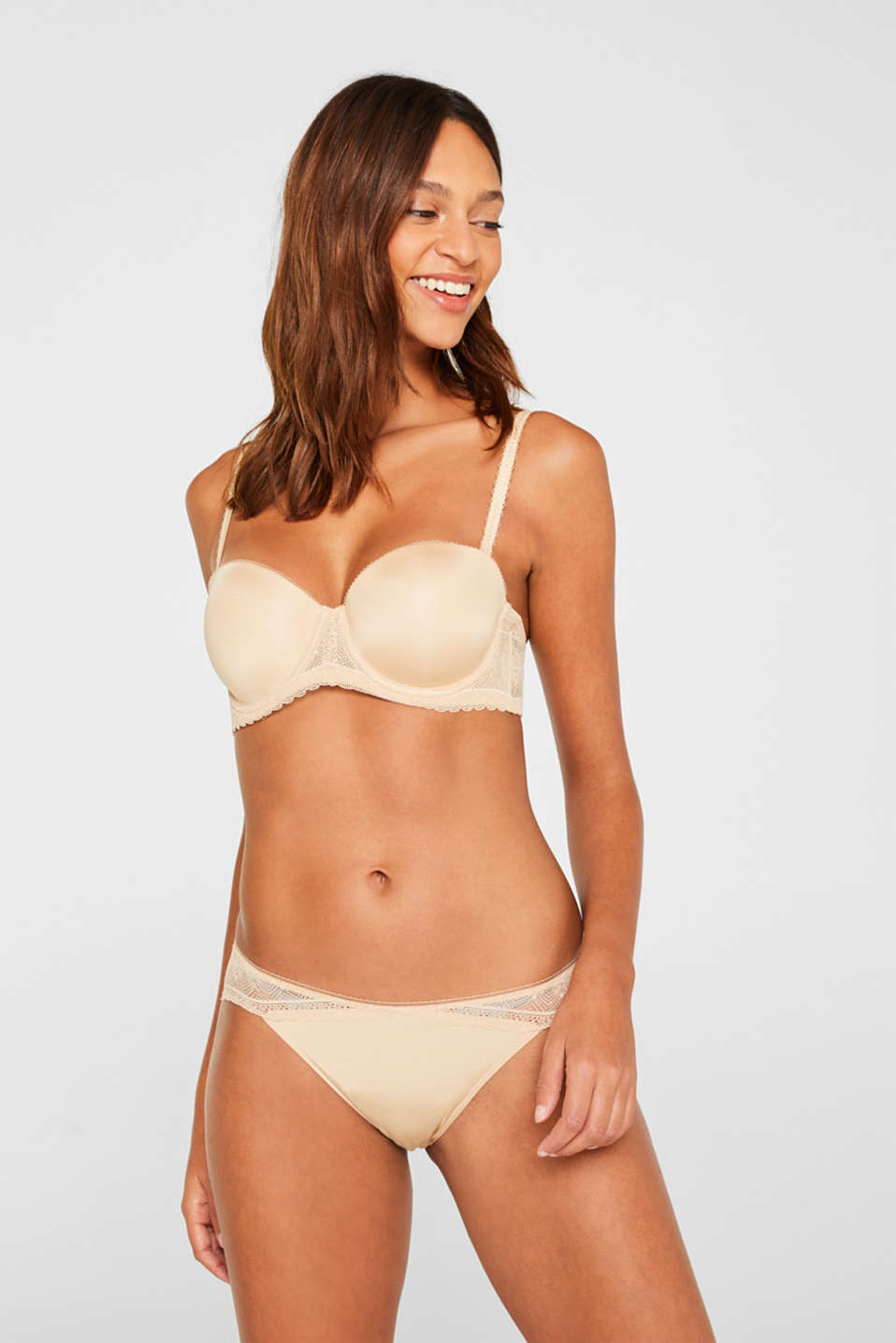 Lace bra with detachable straps, SKIN BEIGE, detail image number 0