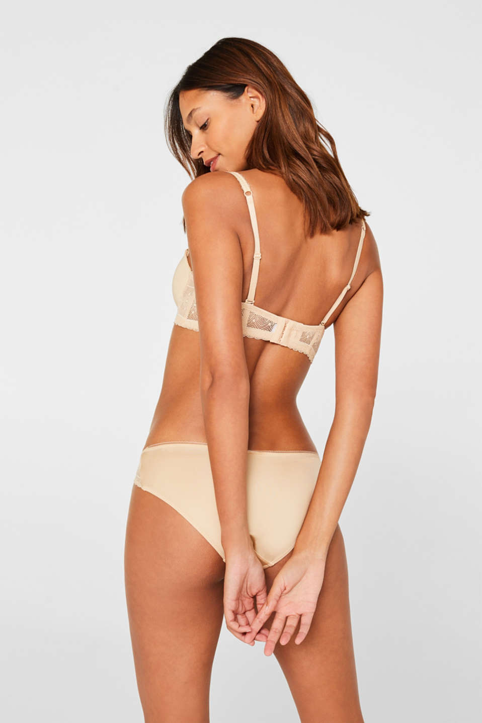 Lace bra with detachable straps, SKIN BEIGE, detail image number 1