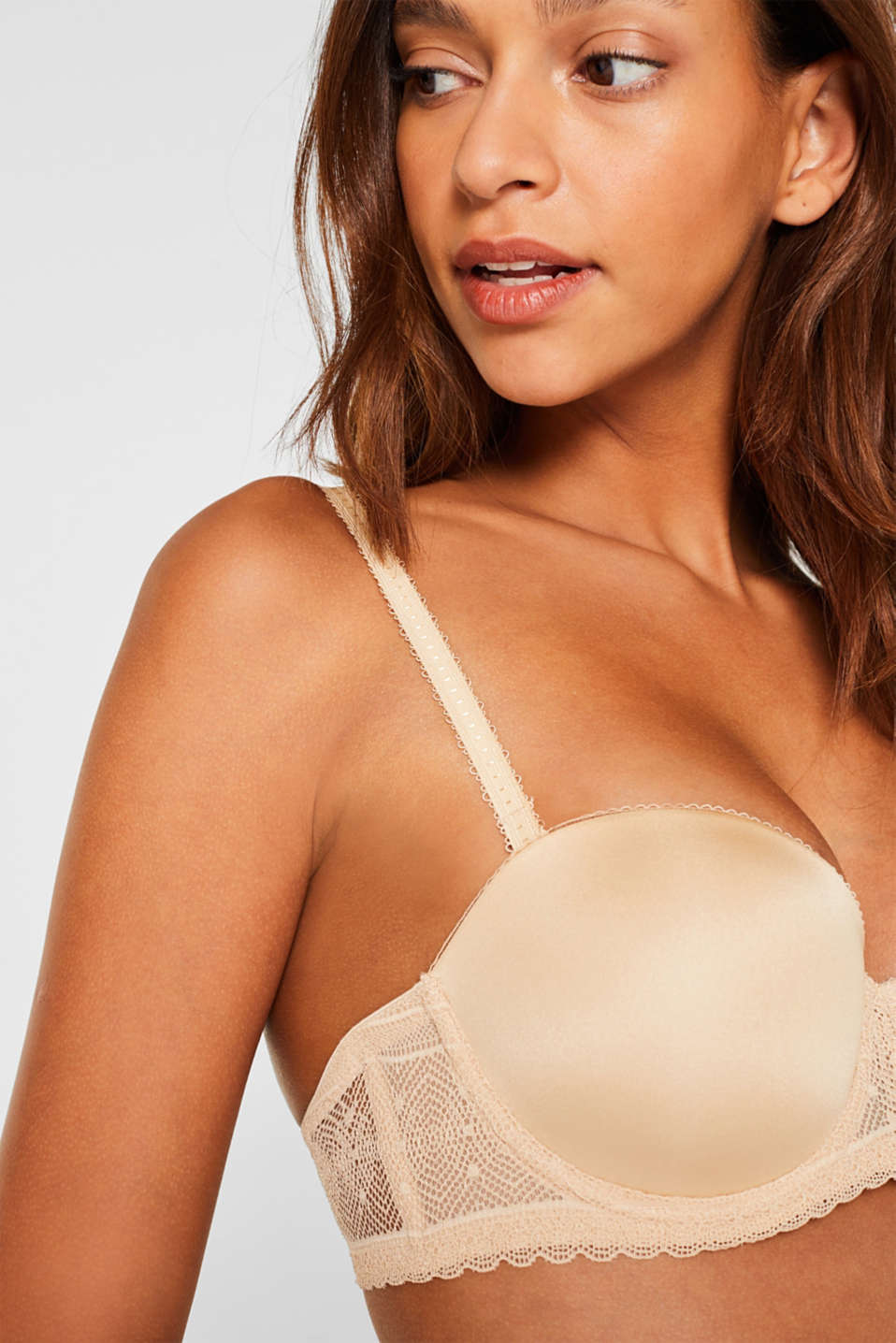 Lace bra with detachable straps, SKIN BEIGE, detail image number 2