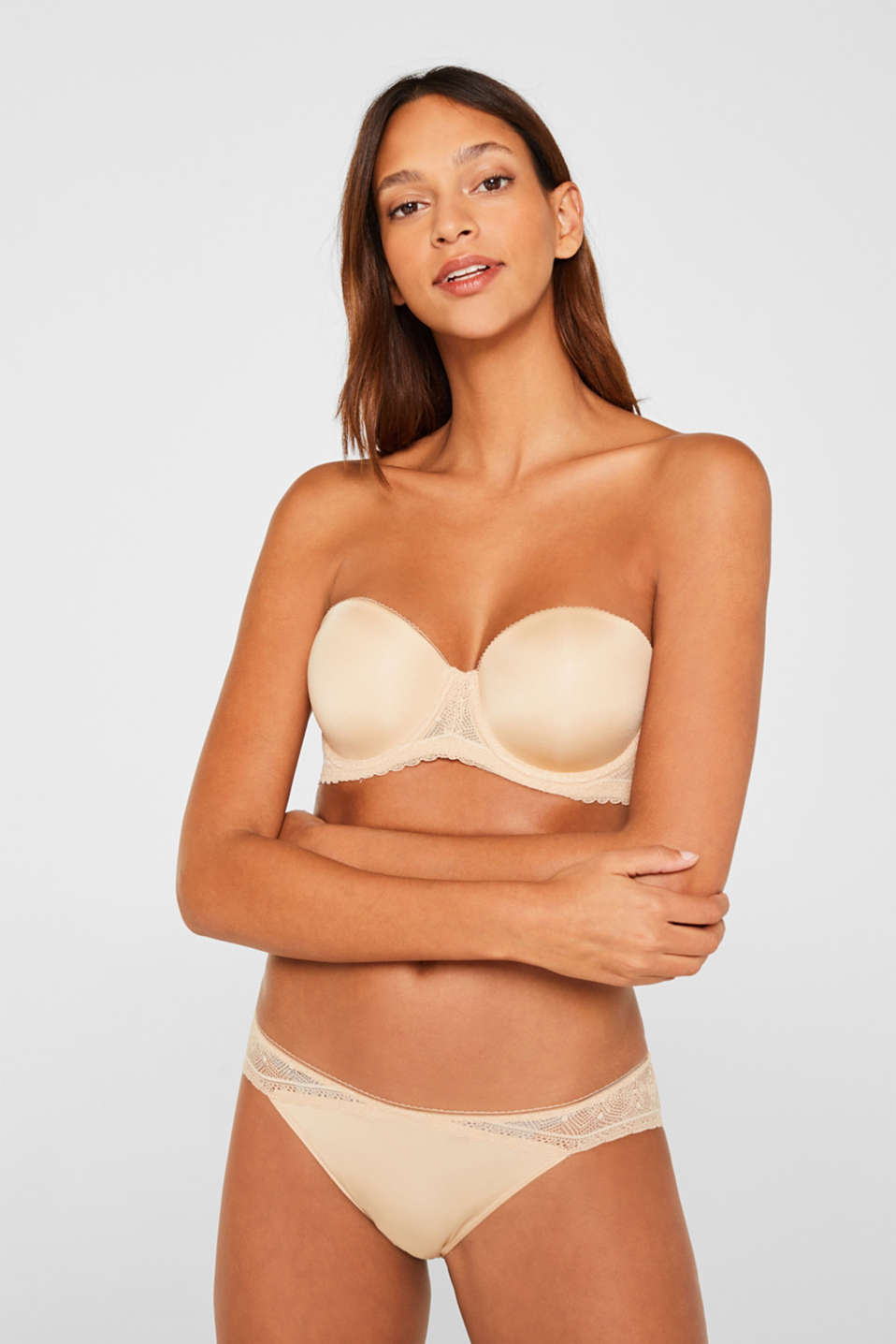 Lace bra with detachable straps, SKIN BEIGE, detail image number 3