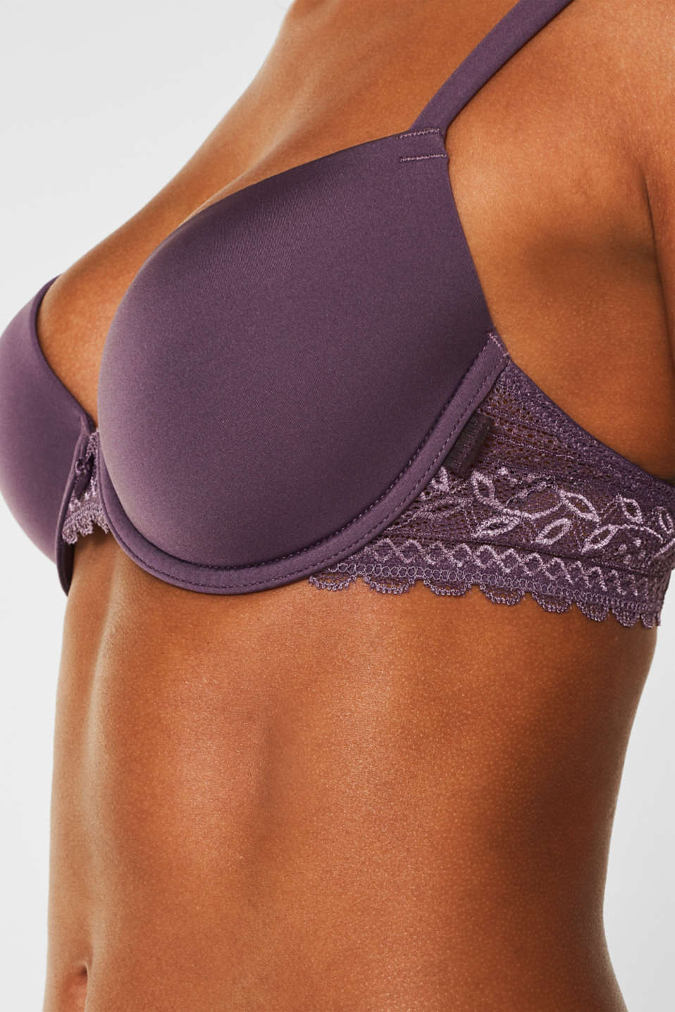 Padded underwire bra with lace, BERRY PURPLE, detail image number 2