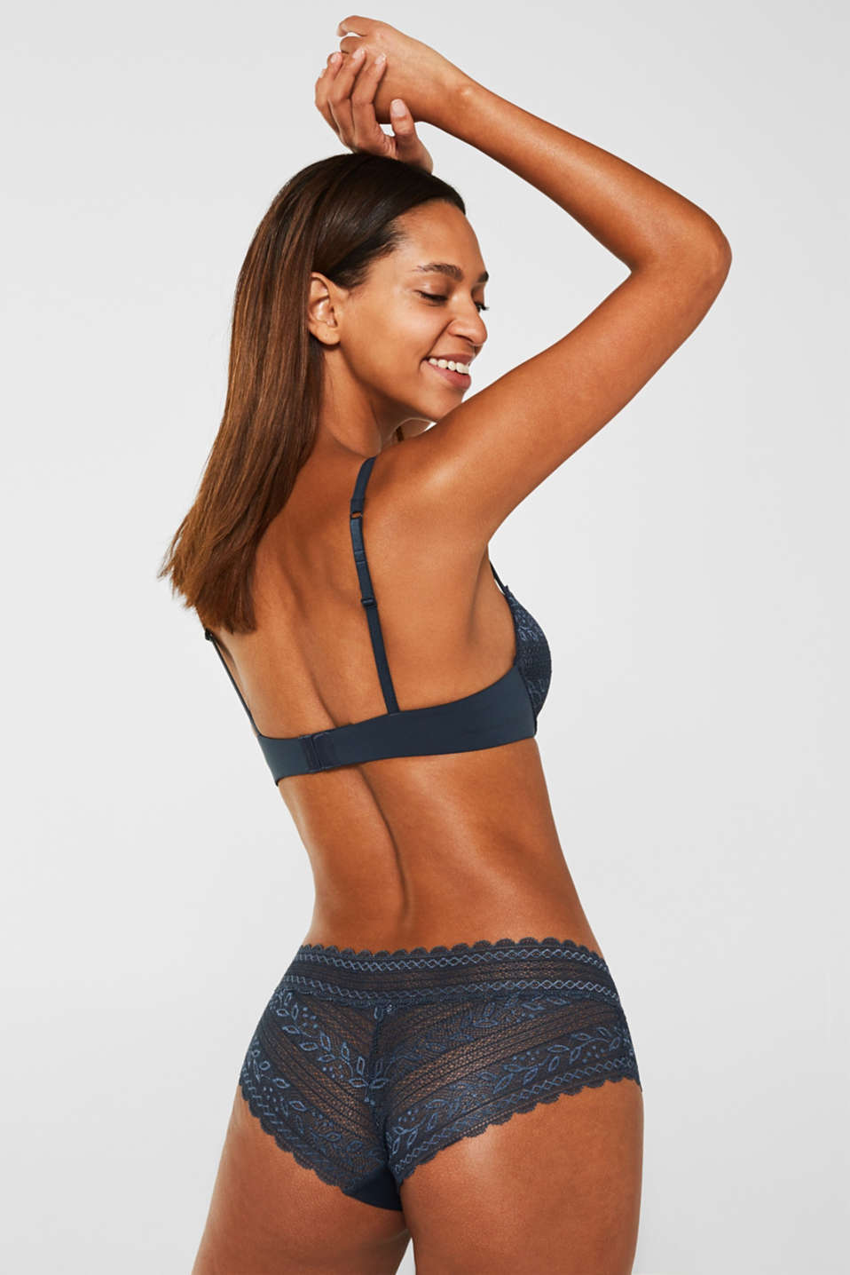 Push-up bra in lace and microfibre fabric, GREY BLUE, detail image number 1