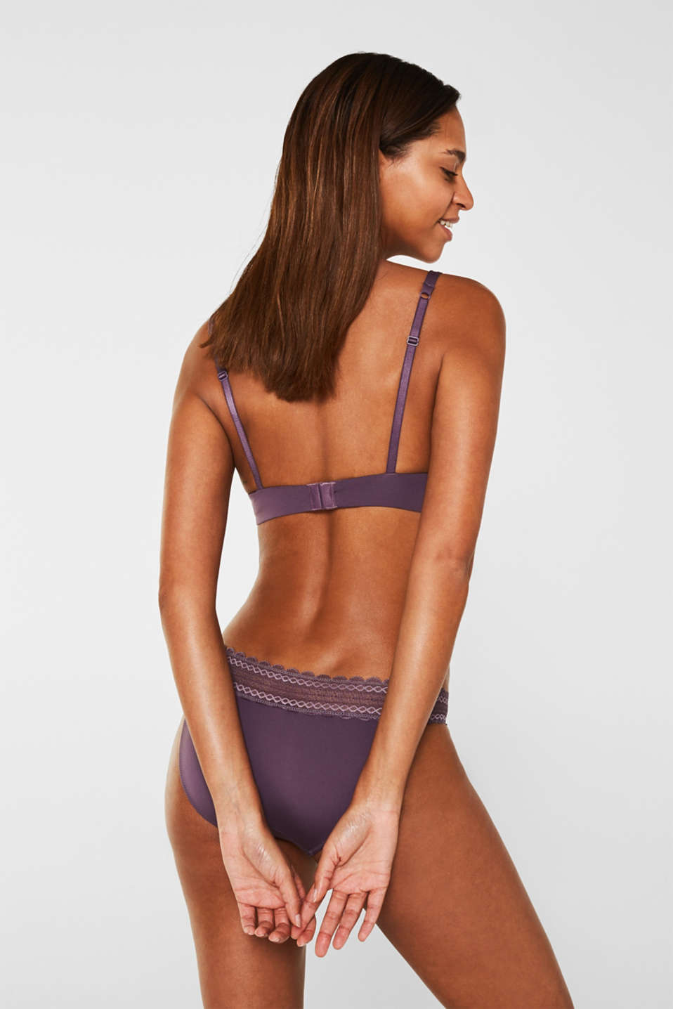 Push-up bra in lace and microfibre fabric, BERRY PURPLE, detail image number 1