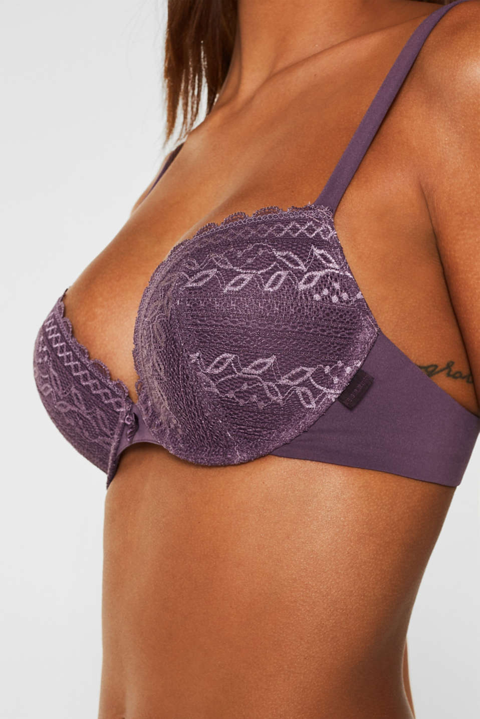 Push-up bra in lace and microfibre fabric, BERRY PURPLE, detail image number 2