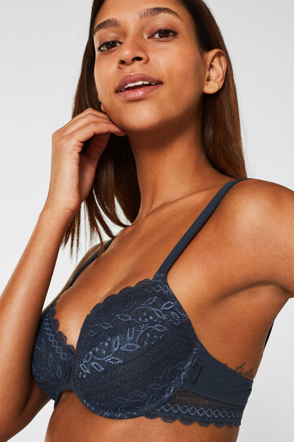 Bras with wire, GREY BLUE, detail image number 2