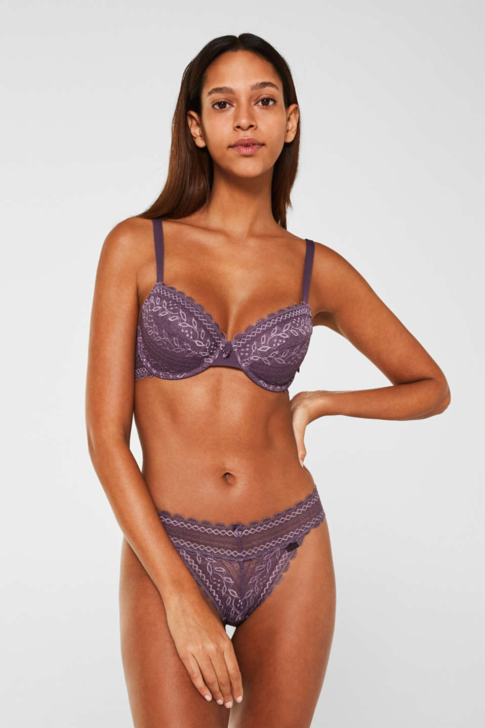 Unpadded lace bra, BERRY PURPLE, detail image number 0
