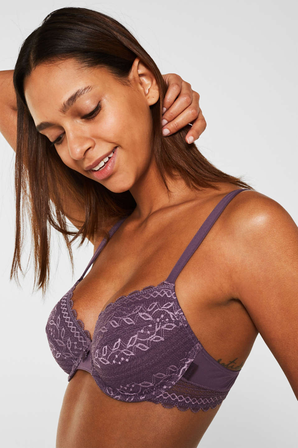Unpadded lace bra, BERRY PURPLE, detail image number 2