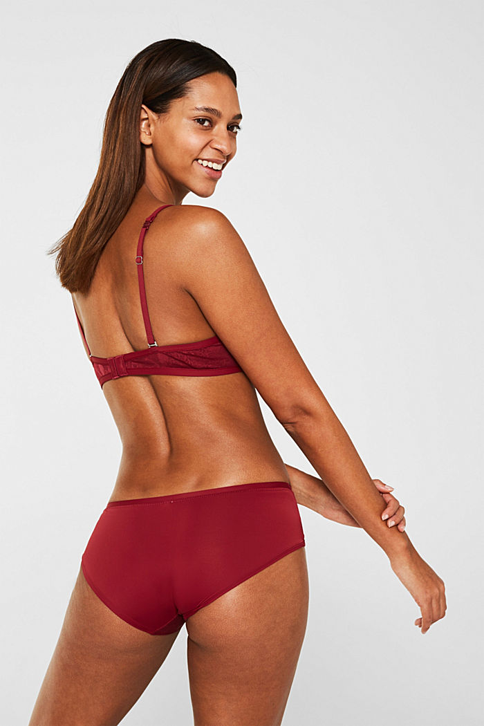 Push-up bra in floral lace, BORDEAUX RED, detail image number 1