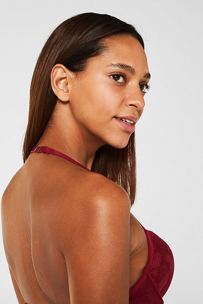 Push-up bra in floral lace, BORDEAUX RED, detail image number 3