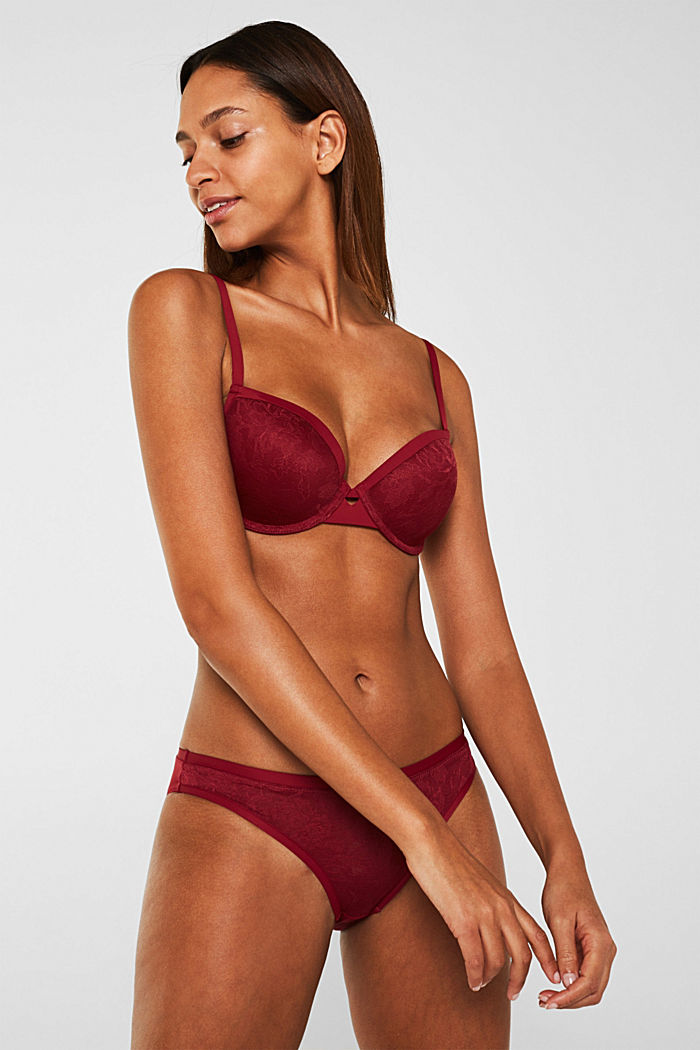 Padded underwire bra in floral lace, BORDEAUX RED, detail image number 0