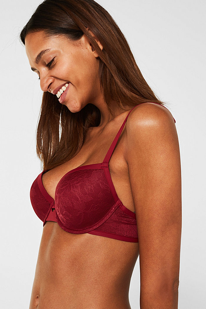 Padded underwire bra in floral lace, BORDEAUX RED, detail image number 2