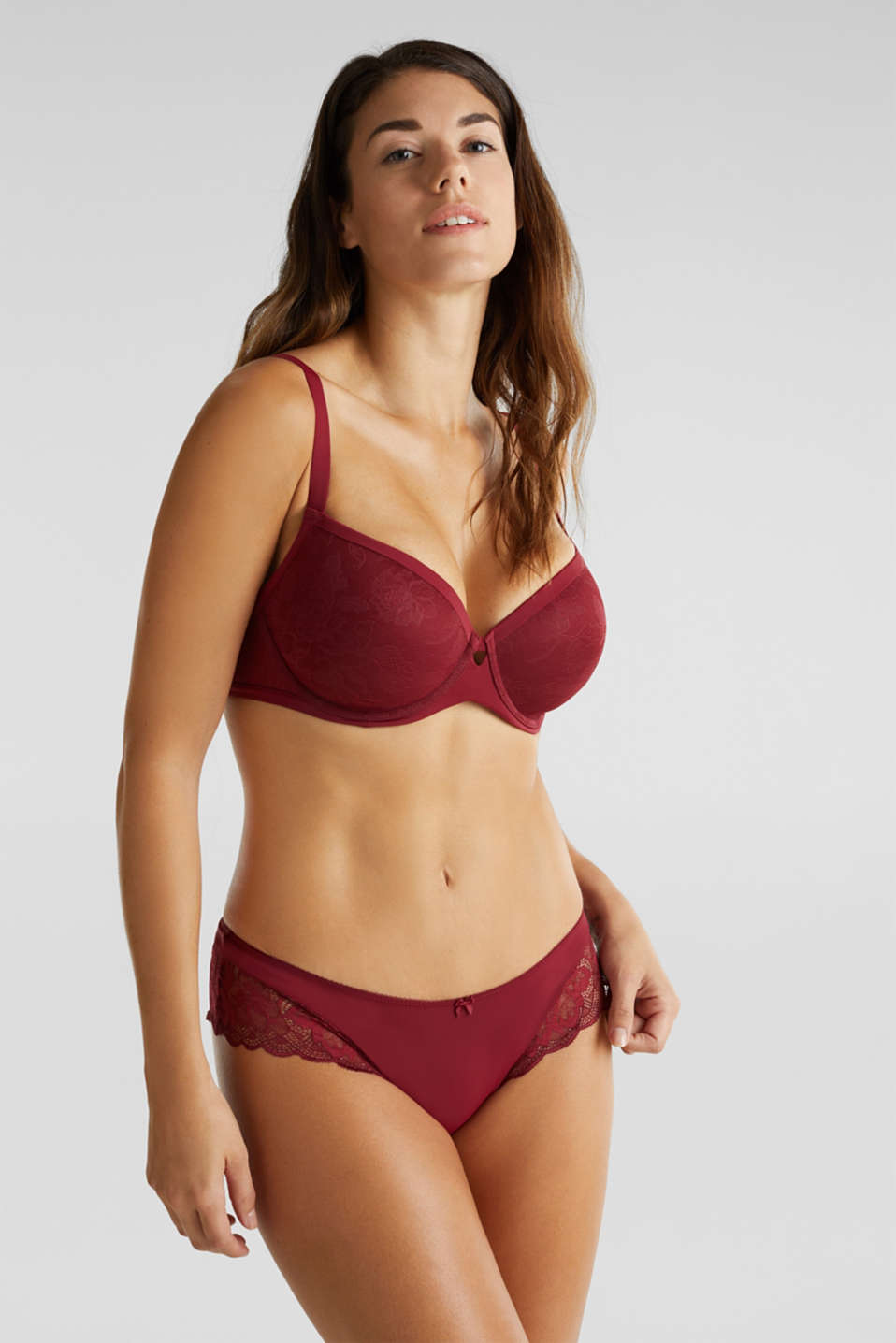 Padded lace bra for larger cup sizes, BORDEAUX RED, detail image number 0