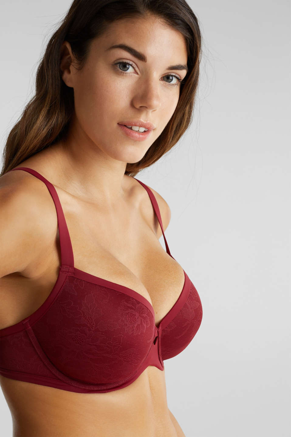 Padded lace bra for larger cup sizes, BORDEAUX RED, detail image number 2