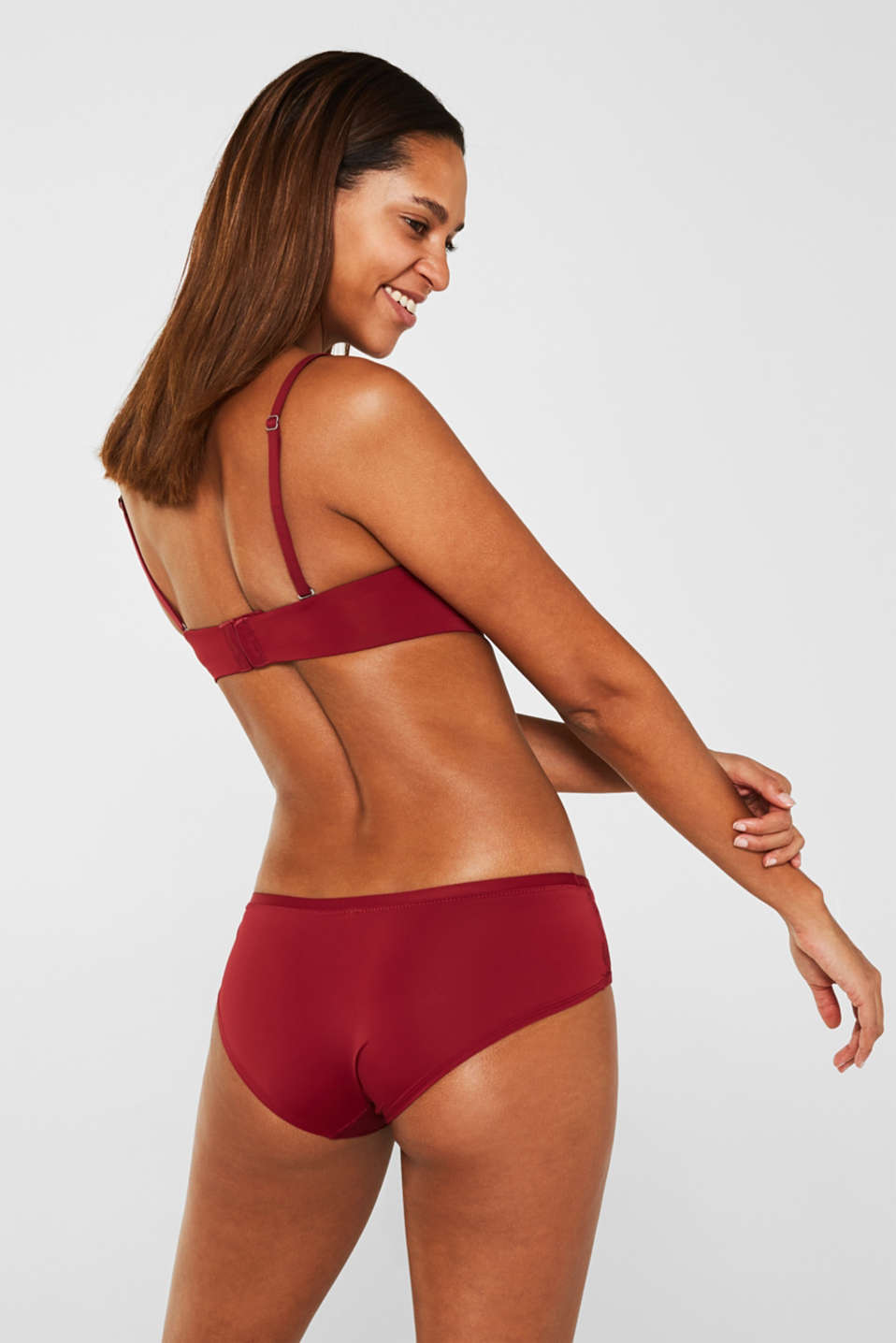 Padded underwire bra with detachable straps, BORDEAUX RED, detail image number 1