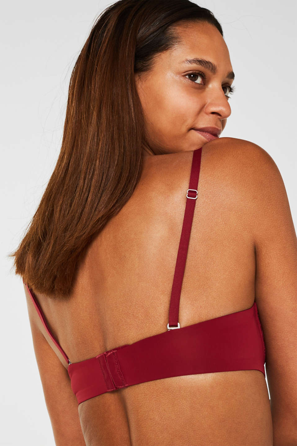 Padded underwire bra with detachable straps, BORDEAUX RED, detail image number 2