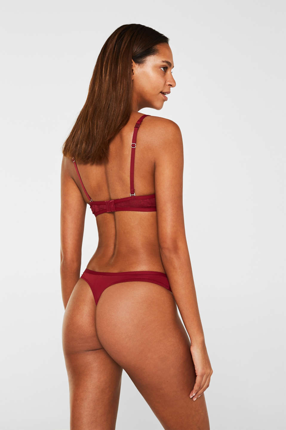 Lace hipster thong, BORDEAUX RED, detail image number 2