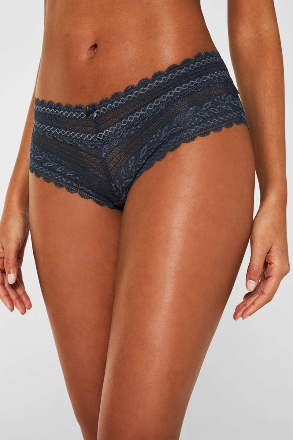 Hipster shorts in delicate lace, GREY BLUE, detail image number 1