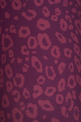 Active leggings with a leopard print, E-DRY, AUBERGINE 3, detail