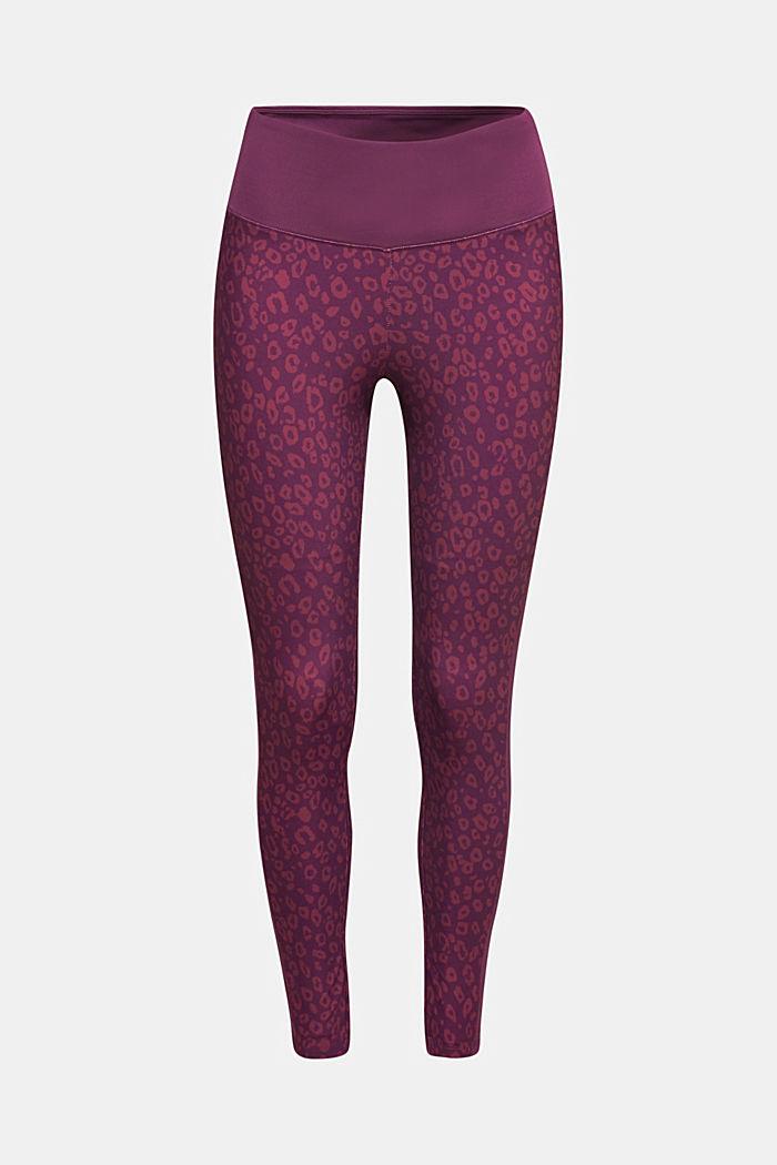 Tekniset leggingsit leopardikuosilla, E-DRY, AUBERGINE, detail image number 0