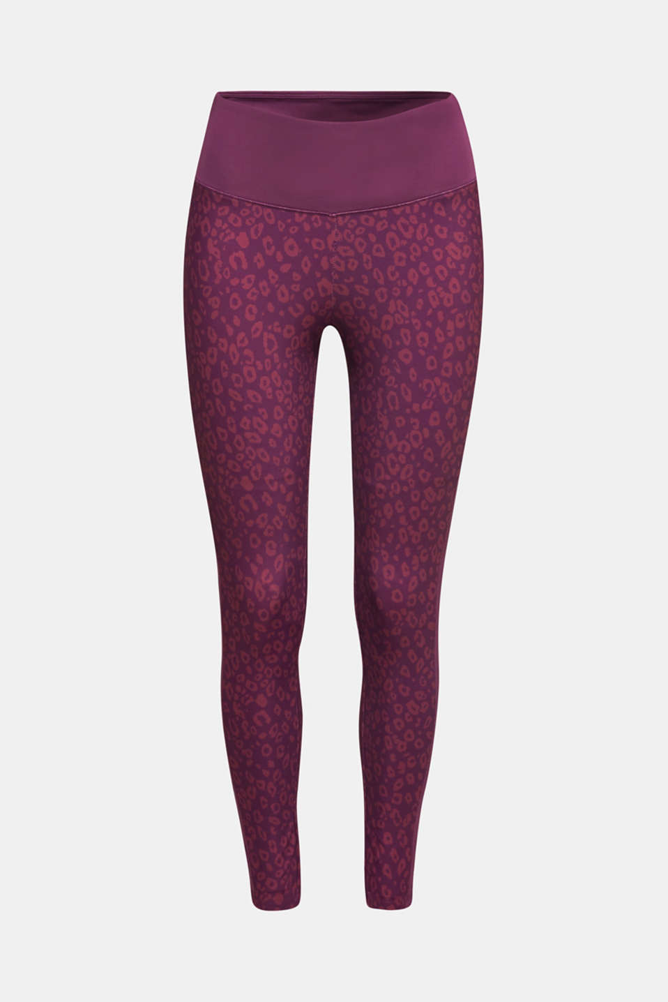Active leggings with a leopard print, E-DRY, AUBERGINE 3, detail image number 7