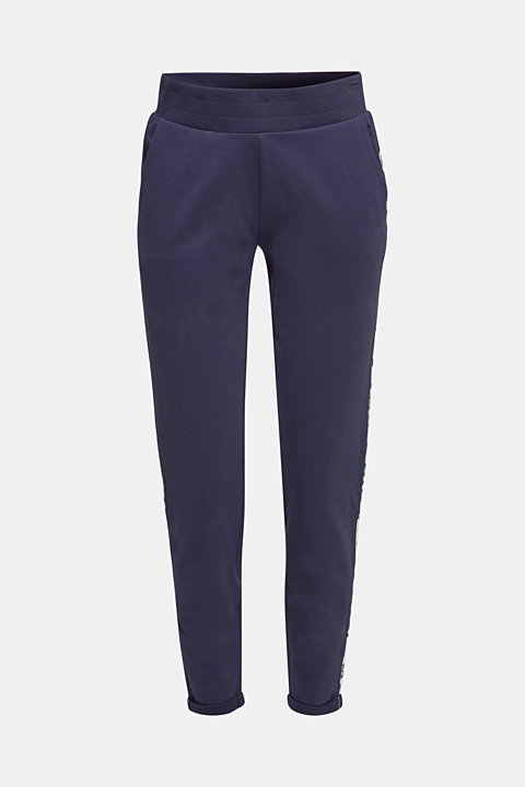Stretch jersey trousers with piping