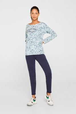 Stretch sweatshirt with leopard print, LIGHT TURQUOISE 3, detail