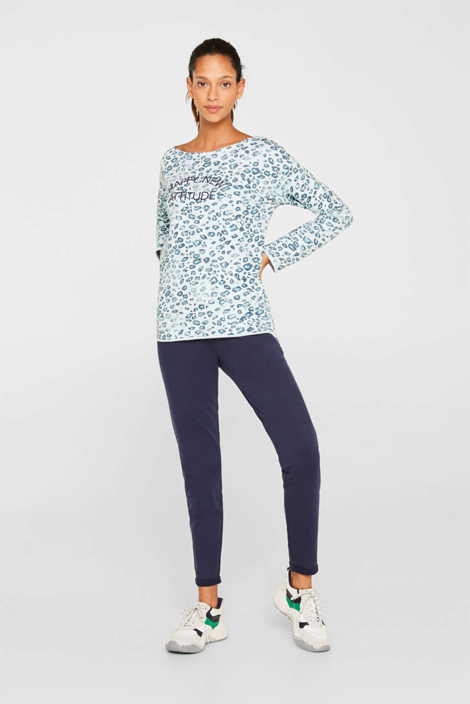 Stretch sweatshirt with leopard print, LIGHT TURQUOISE 3, detail image number 1