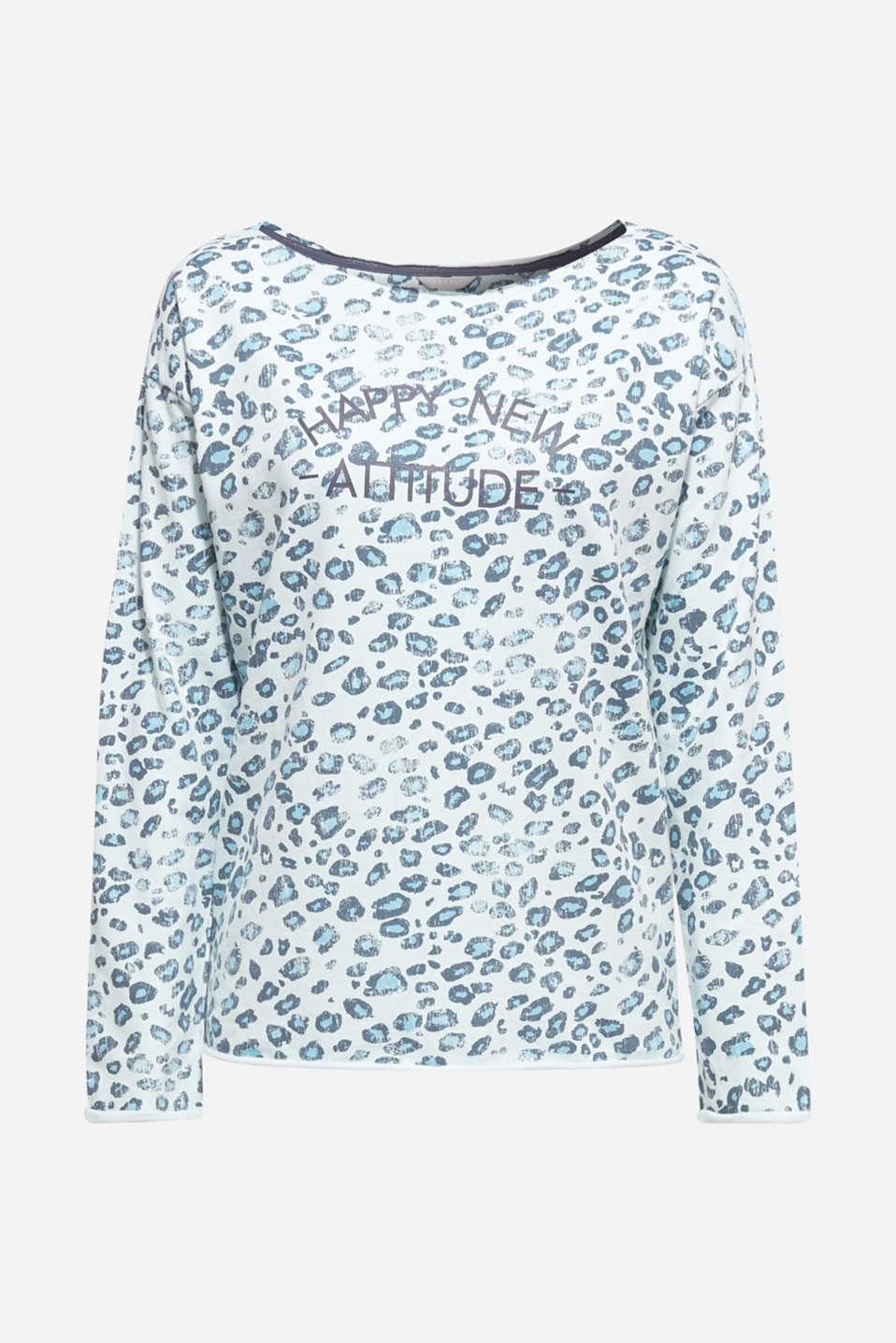 Stretch sweatshirt with leopard print, LIGHT TURQUOISE 3, detail image number 6