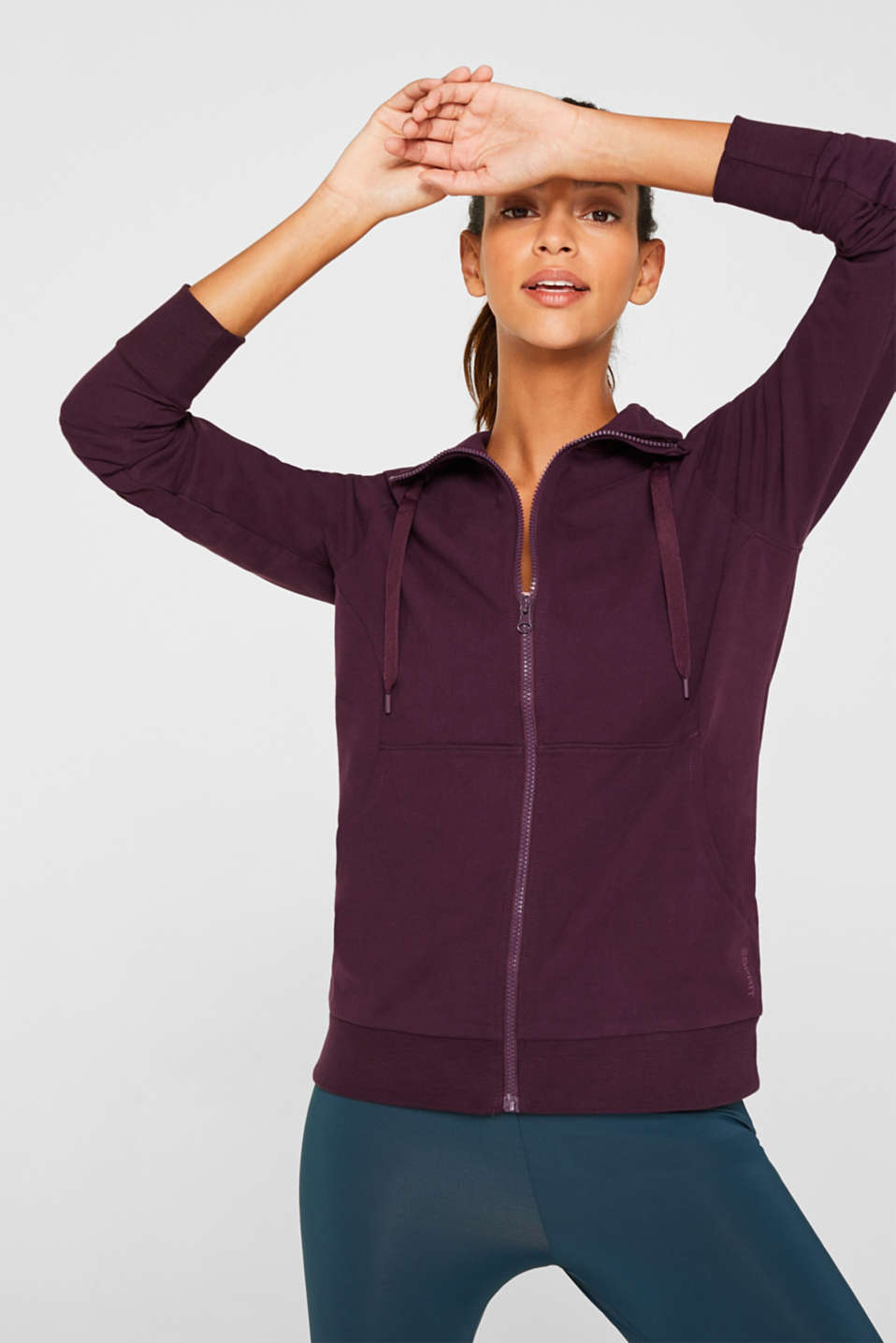 Stretch jersey cardigan with a zip
