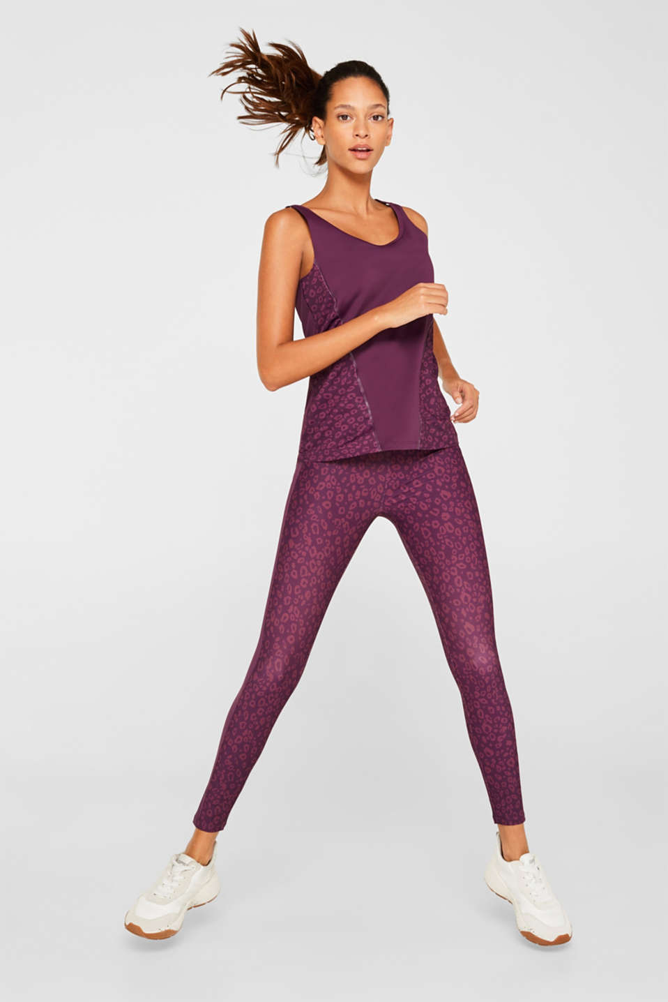 Active T-shirt with leopard print, E-DRY, AUBERGINE, detail image number 1