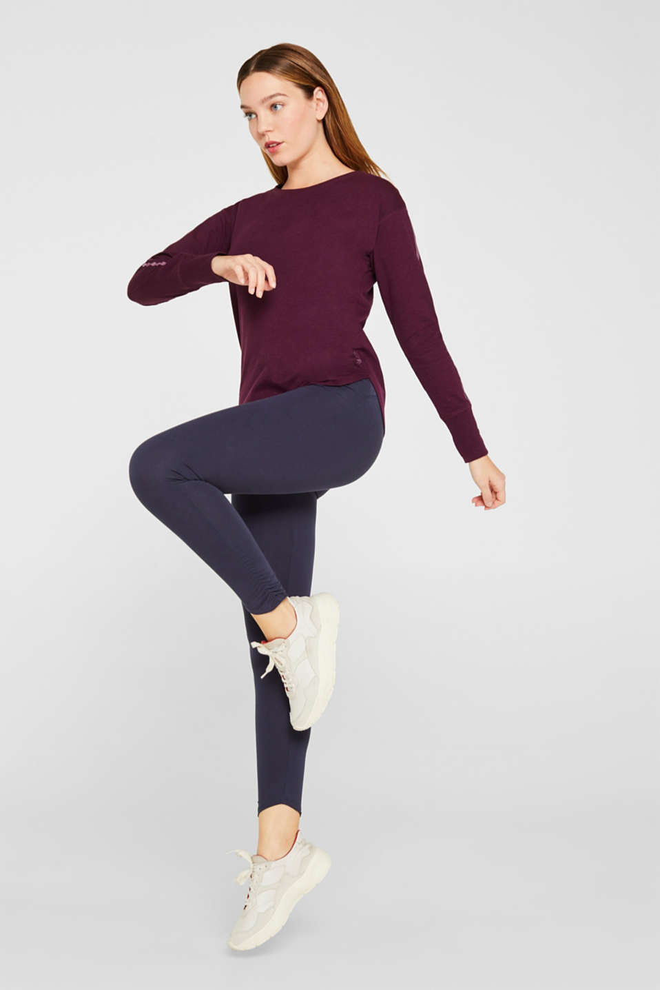 Long sleeve top with glittering stripes on the sleeves, AUBERGINE, detail image number 1