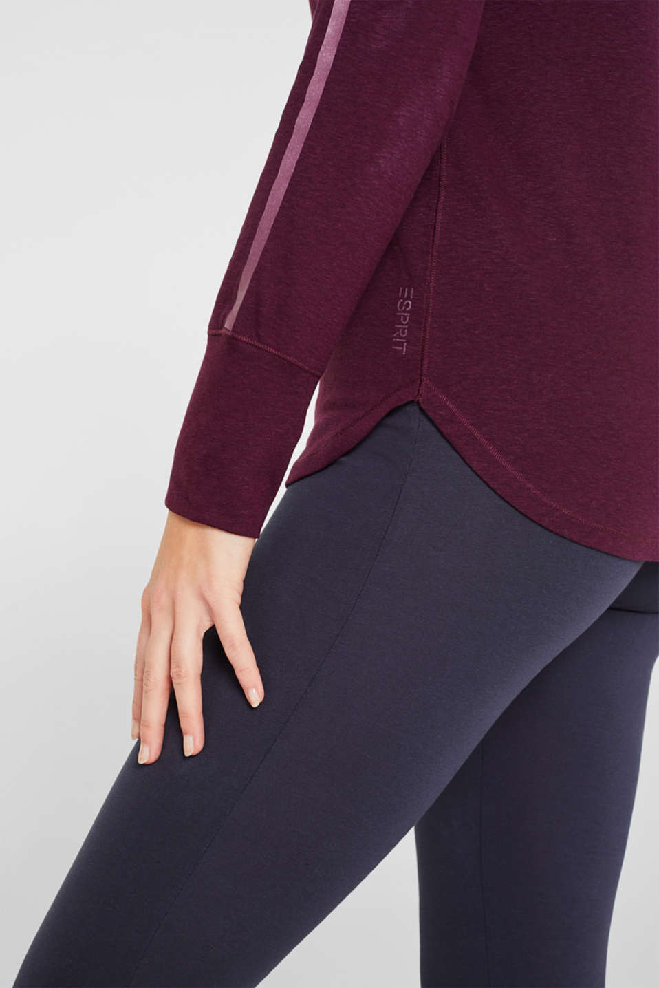 Long sleeve top with glittering stripes on the sleeves, AUBERGINE, detail image number 2