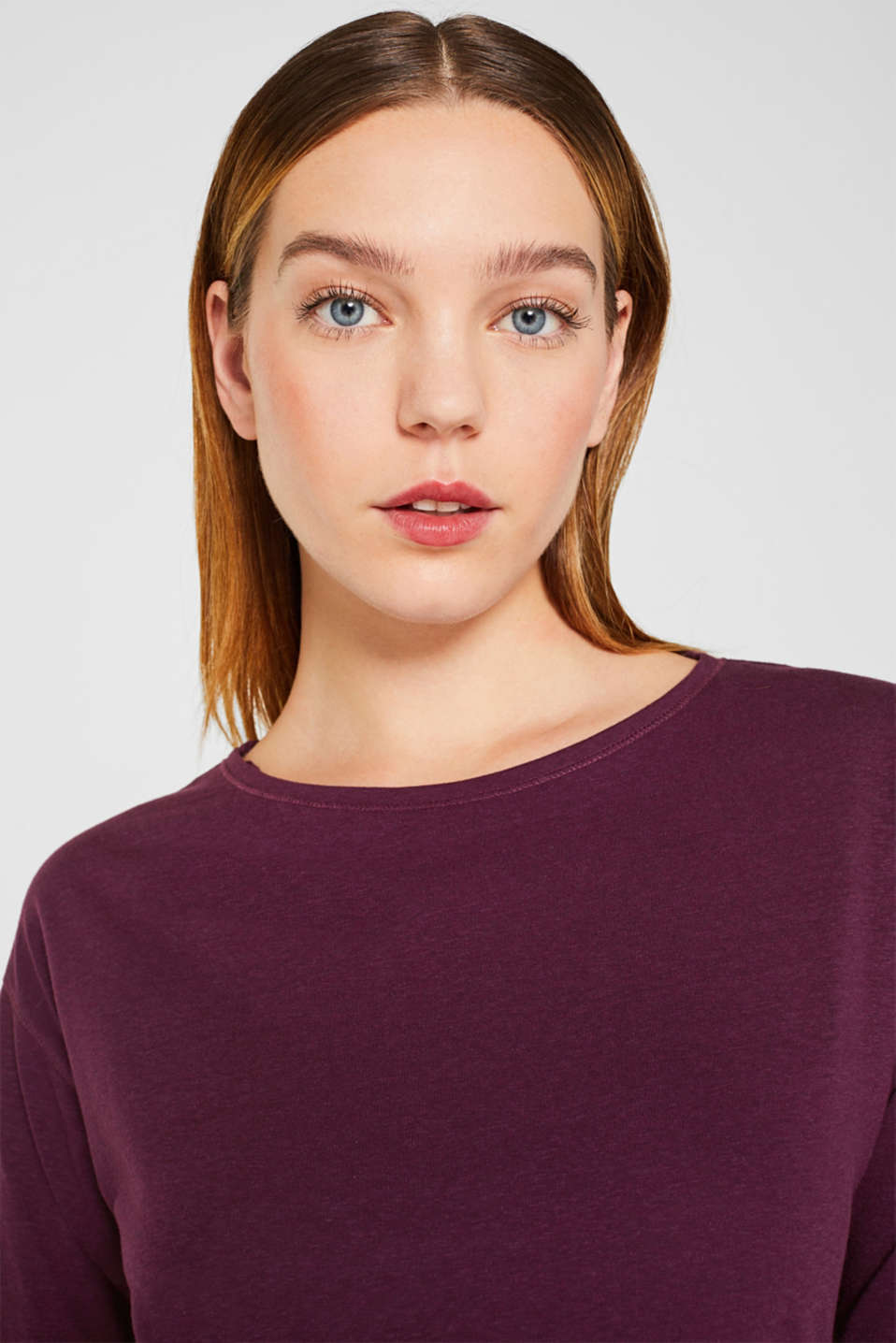 Long sleeve top with glittering stripes on the sleeves, AUBERGINE, detail image number 6