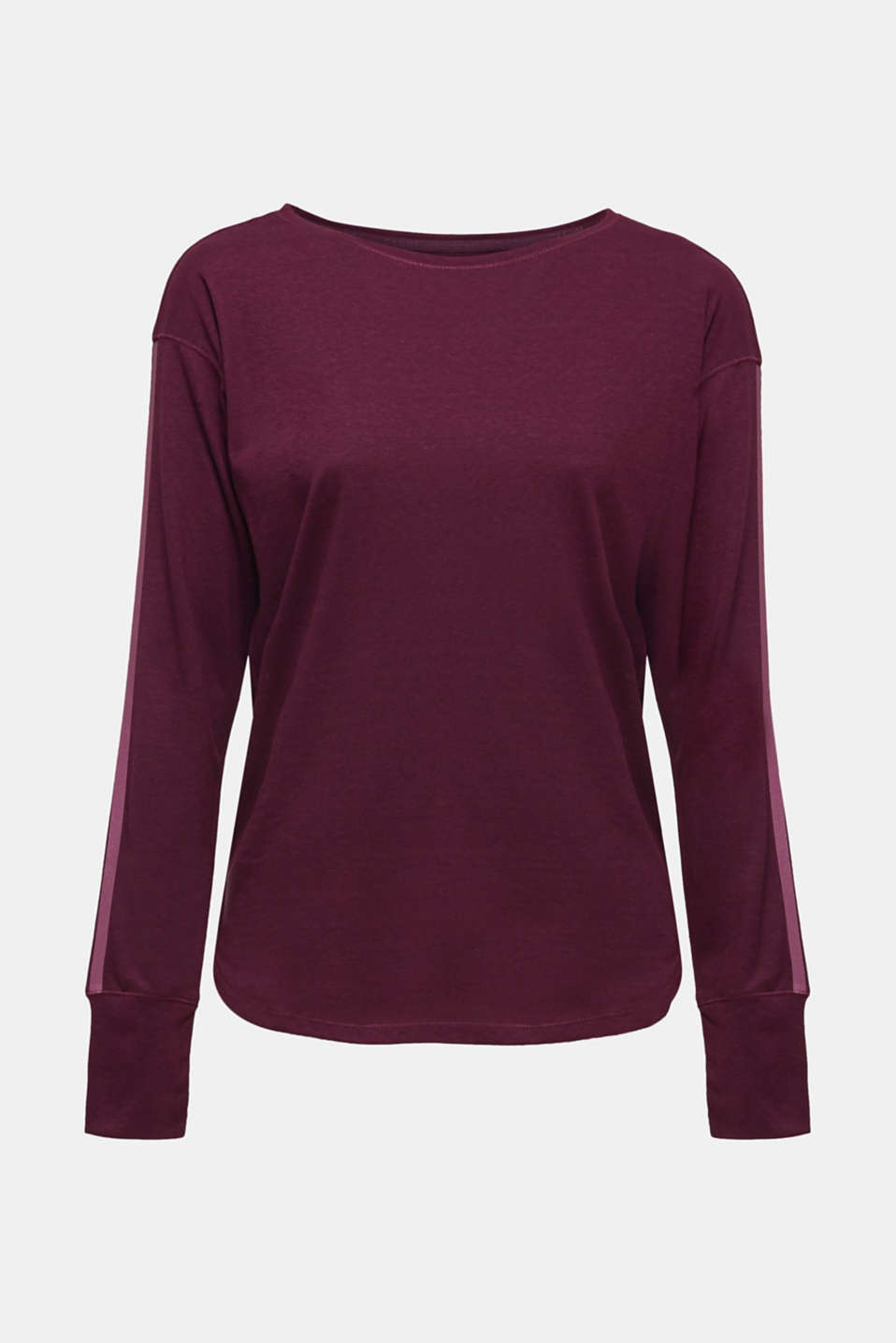 Long sleeve top with glittering stripes on the sleeves, AUBERGINE, detail image number 7