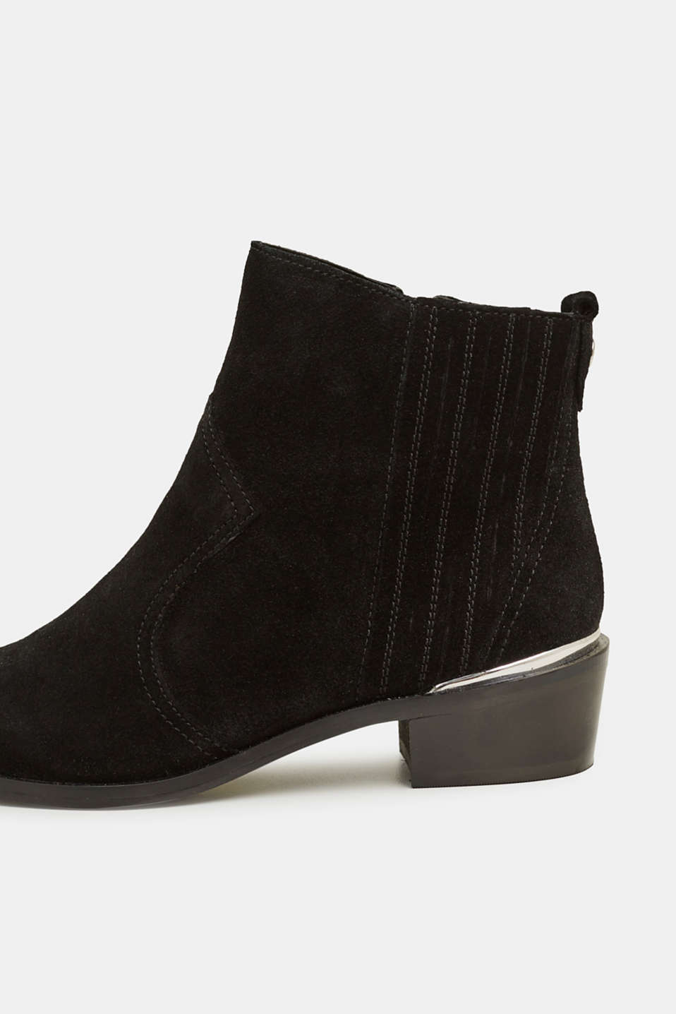 Suede cowboy boots, BLACK, detail image number 4