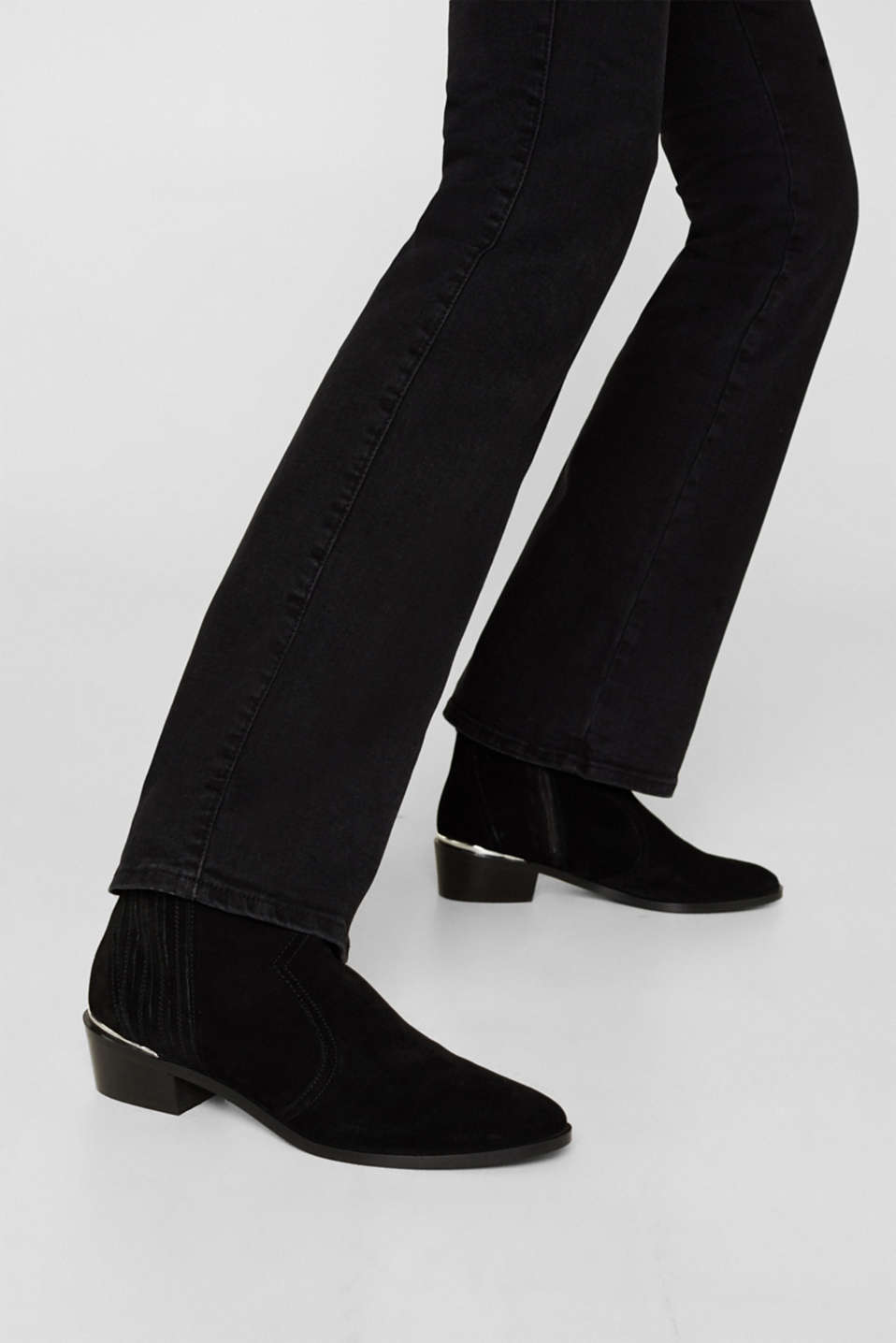 Suede cowboy boots, BLACK, detail image number 3