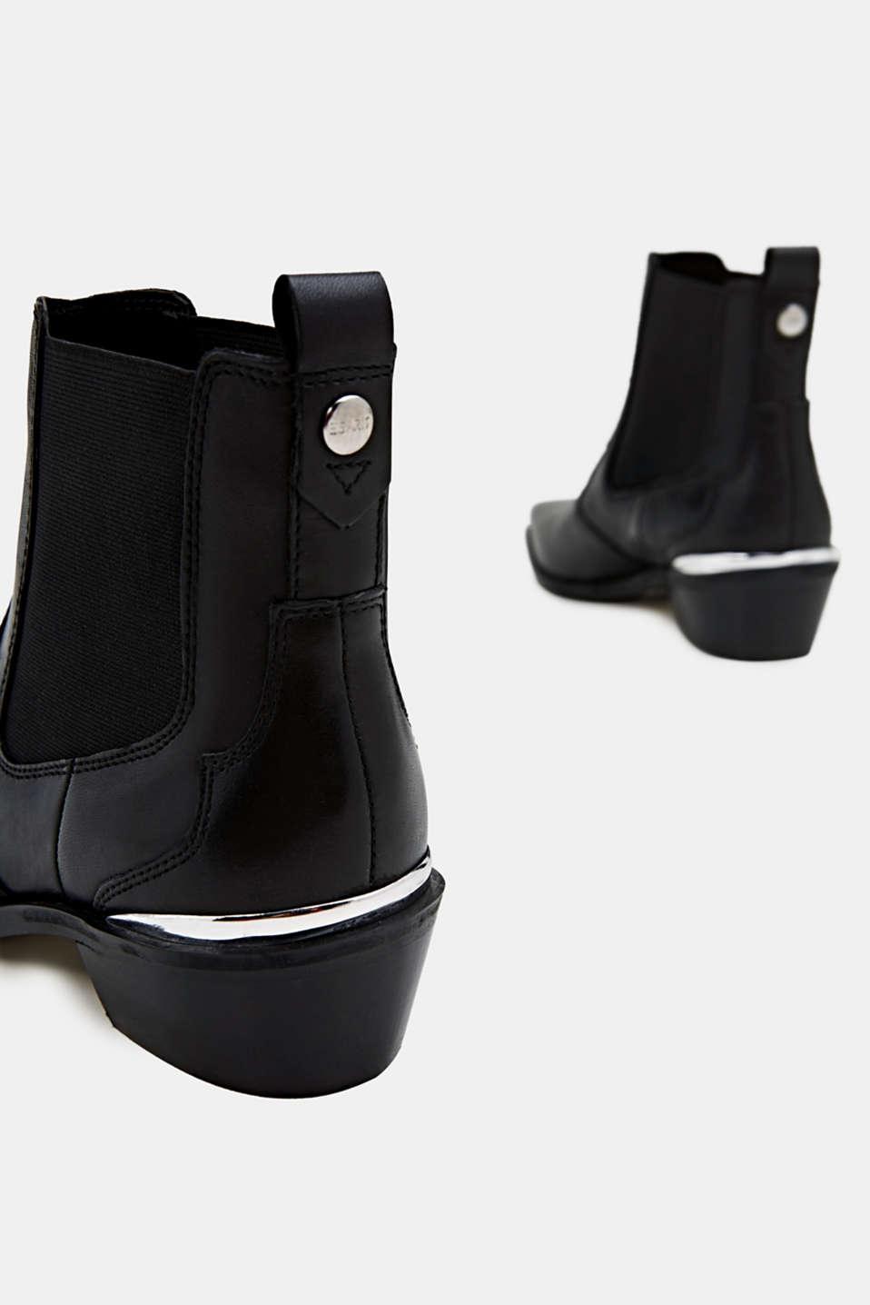 Leather cowboy boots, BLACK, detail image number 4
