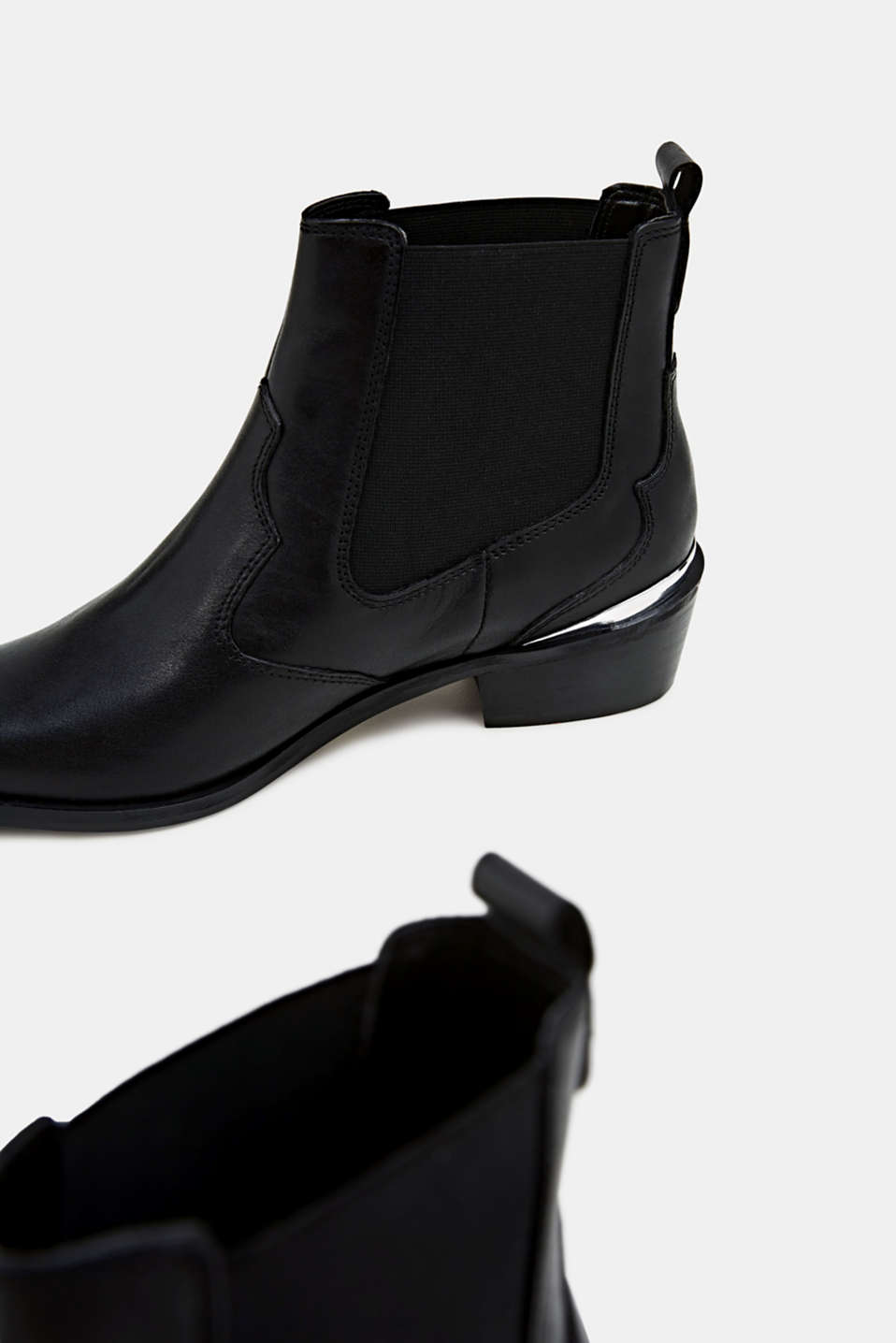 Leather cowboy boots, BLACK, detail image number 3