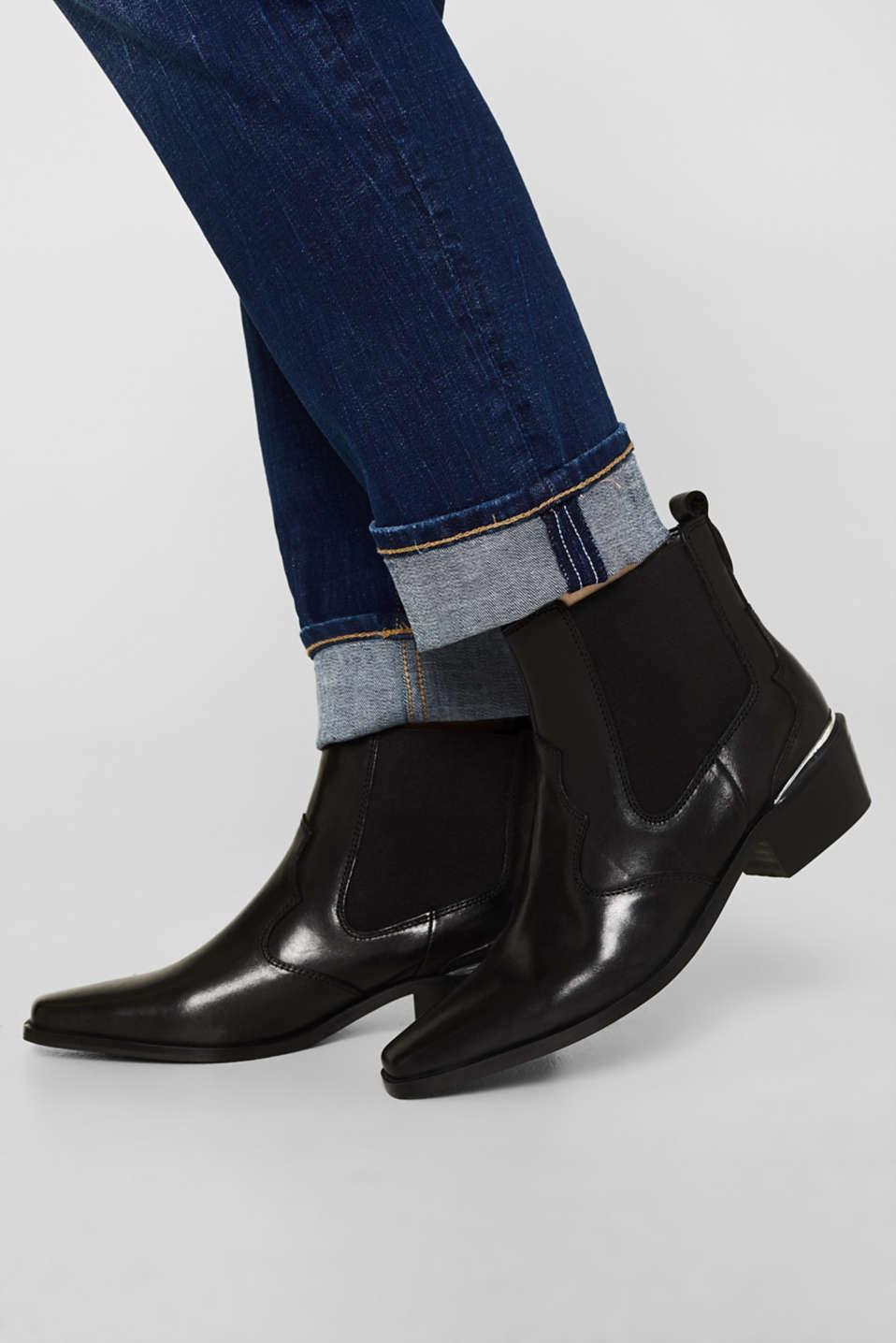 Leather cowboy boots, BLACK, detail image number 2