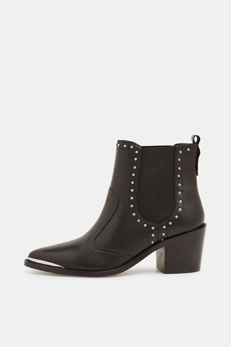 Boots with studs, made of leather, BLACK, detail image number 0