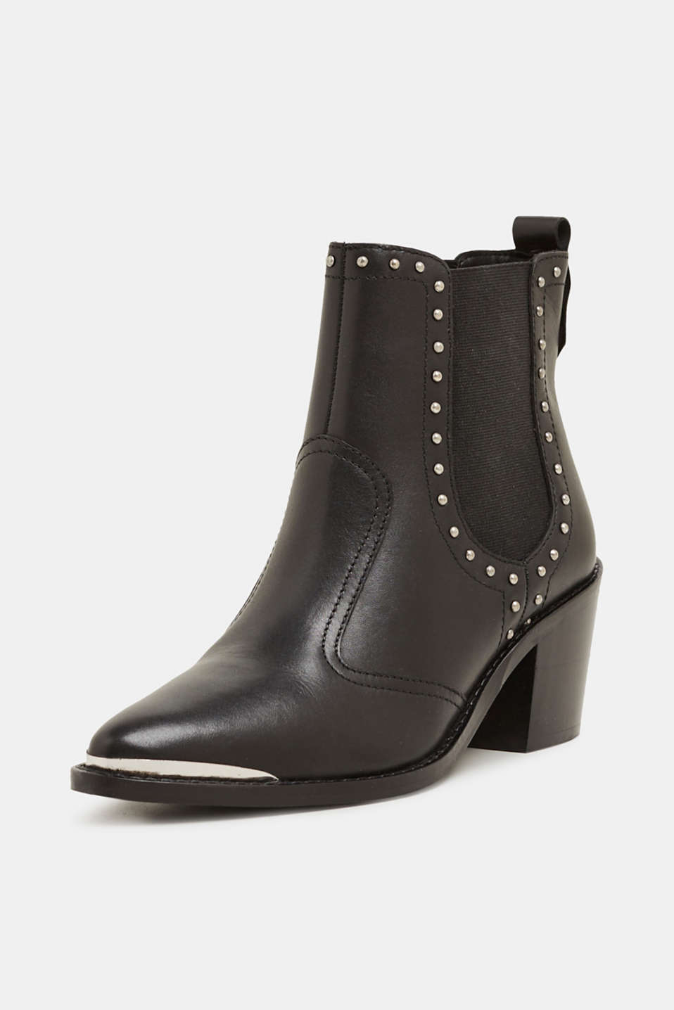 Boots with studs, made of leather, BLACK, detail image number 1