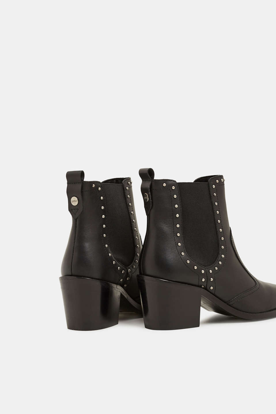 Boots with studs, made of leather, BLACK, detail image number 4